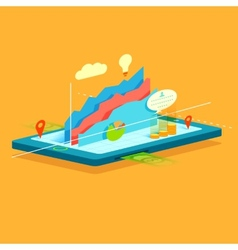 Business Graph on mobile screen vector image