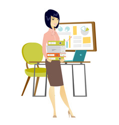 Business woman holding pile of folders vector