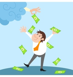 Businessman character under money rain vector image