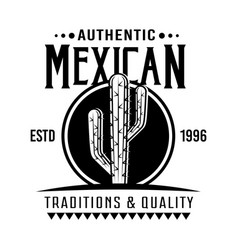 Cactus mexican style emblem badge label vector