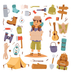camping outdoor travel tourist man holding map and vector image