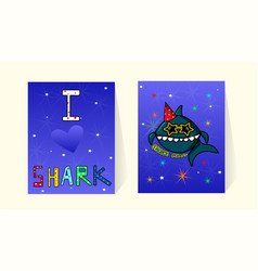 Cards for to birthday party bashark vector