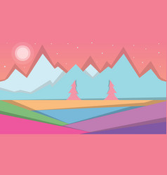 cartoon landscape scartoon landscape vector image vector image