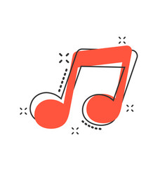 cartoon music icon in comic style sound note sign vector image