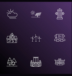 City icons line style set with alternative energy vector