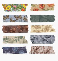 Collage scrapbooking diy vintage decor washi tape vector