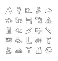 Construction and architecture thin line icon set vector