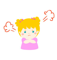 cute cartoon angry girl character vector image