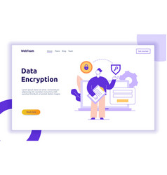 Data encryption web page online banner vector