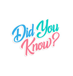 Did you know question lettering isolated vector