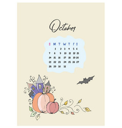 Doodle pumpkins and castle calendar for the month vector