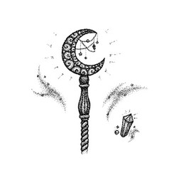 Dotwork magic stick vector