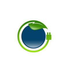 eco energy leaf and power plug concept logo vector image