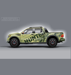 Editable template for wrap suv with hunter vector