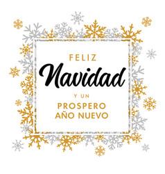 elegant feliz navidad lettering banner vector image