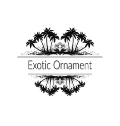 Exotic Ornament with Palm Trees Silhouette vector image