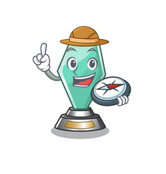 Explorer acrylic trophy mascot on a cartoon vector