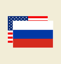 flags usa and russia set vector image