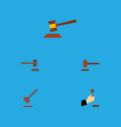 flat icon court set of hammer tribunal legal and vector image