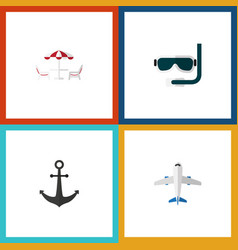 flat icon summer set of scuba diving ship hook vector image