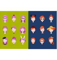 flat set of female heads with different vector image