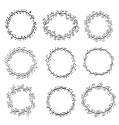 frames made of wreaths doodle vector image