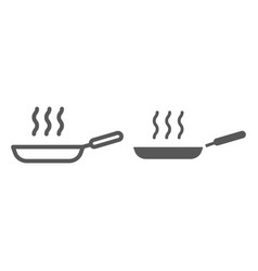 frying pan line and glyph icon kitchen vector image