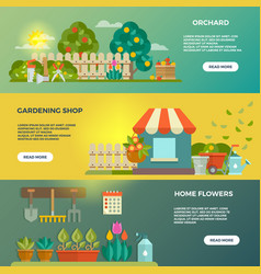 Gardening banners with garden tools seeds vector