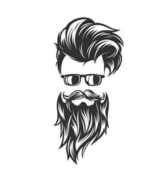 Hairstyles with beard mustache sunglasses vector