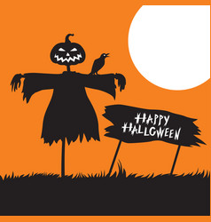 Halloween card with scarecrow and greeting sign vector
