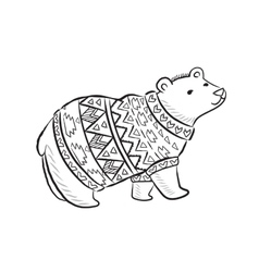 Hand drawn outline print with polar bear in winter vector