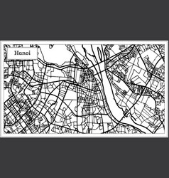 hanoi vietnam city map in black and white color vector image