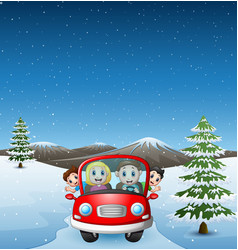 Happy family riding car in the snowing hill vector