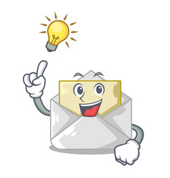 Have an idea envelope opened on shape white mascot vector