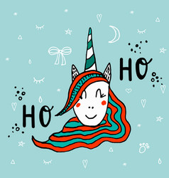 head of hand drawn unicorn with lettering ho-ho vector image