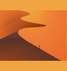 in a desert dunes with a man in the foreground vector image