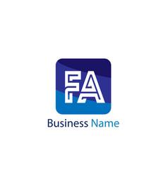 initial letter fa logo template design vector image