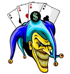 Joker angry jester in cap tattoo vector