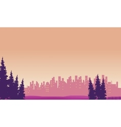 Landscape city and spruce silhouettes vector
