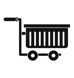 Large plastic supermarket cart icon simple style vector