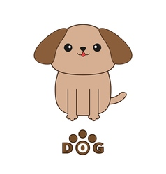 Little glamour tan Shih Tzu dog text with paw vector