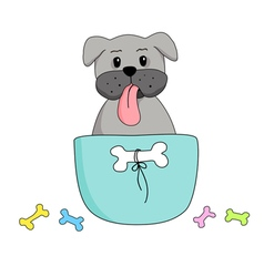 Lovely dog in a coffee cup vector
