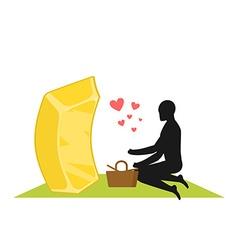 Lover gold Golds bullion on picnic Rendezvous in vector