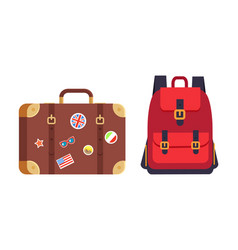 Luggage and red rucksack vector