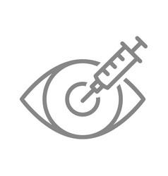 medical syringe and eye line icon vaccination vector image