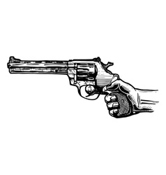 Men hand with revolver pistol vector image