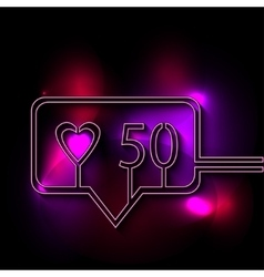 Neon speech bubble in flat manner and long shadow vector image