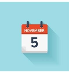 November 5 flat daily calendar icon Date vector image
