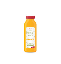 Orange juice bottle mockup vector