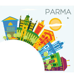 Parma italy city skyline with color buildings vector